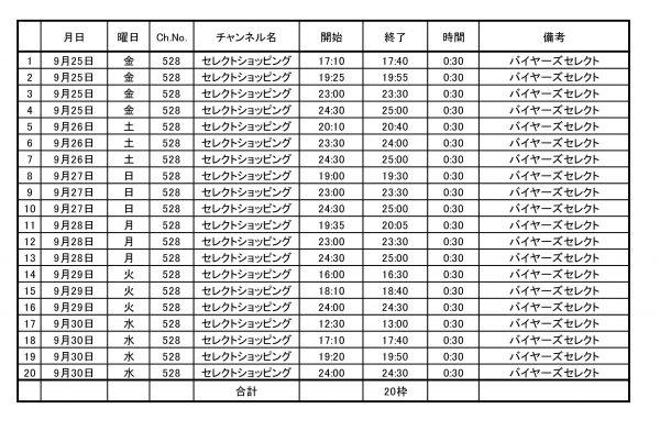バイヤーズセレクト放送枠